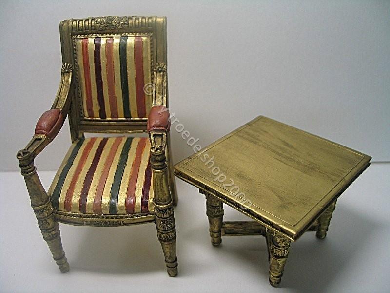 103 2tlg puppen m bel sitzgruppe tisch sessel stuhl in 2 ausf hrungen rot gold ebay. Black Bedroom Furniture Sets. Home Design Ideas